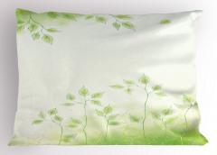 Bahar Temalı Yastık Kılıfı Yeşil Yaprak Çeyizlik