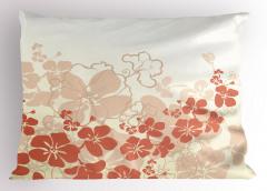 Tropik Çiçek Desenli Yastık Kılıfı Bej Turuncu Beyaz