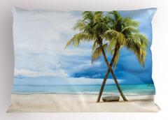 Tropik Kumsal Yastık Kılıfı Kumsal Mavi Yeşil