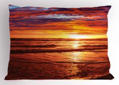 Deniz Kıyısı Gün Batımı Yastık Kılıfı Deniz Kıyısı