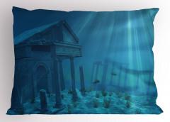 Deniz Altı Antik Şehir Yastık Kılıfı Deniz Altında Antik Şehir Temalı