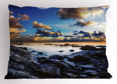 Deniz Kıyısı Manzarası Yastık Kılıfı Dolunay Mavi