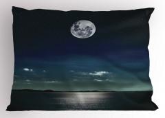 Ay Işığında Deniz Yastık Kılıfı Siyah