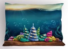 Rengarenk Deniz Kabuğu Yastık Kılıfı Deniz Kabuğu Mavi