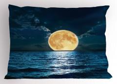 Dolunay Deniz Manzarası Yastık Kılıfı Romantik