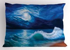 Dalgalı Deniz Yastık Kılıfı Ay Işığı Romantizm