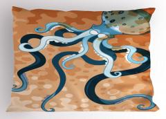 Büyük Ahtapot Yastık Kılıfı Ahtapot Desenli Turuncu