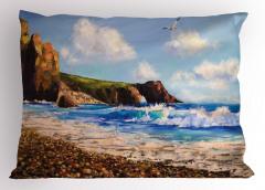 Deniz Kıyısı Desenli Yastık Kılıfı Deniz Kıyısı