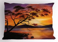 Ağaç Göl ve Dağ Desenli Yastık Kılıfı Mor Sarı