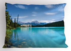 Mavi Göl Yastık Kılıfı Orman Göl Mavi Yeşil