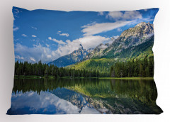 Ağaçlı Göl Desenli Yastık Kılıfı Ağaçlar Bulutlar Dağ Doğa