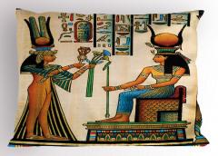 Antik Hiyeroglif Yastık Kılıfı Rengarenk