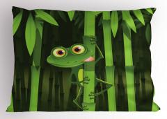 Bambu ve Kurbağa Yastık Kılıfı Yeşil