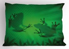 Kurbağa ve Yaprak Yastık Kılıfı Yeşil
