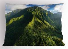 Yeşil Zirveler Yastık Kılıfı Dağ Manzaralı Doğada Huzur Temalı