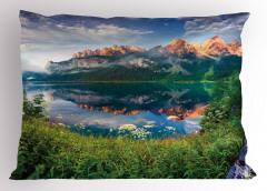 Ormandaki Göl Manzarası Yastık Kılıfı Göl Dağ Orman Yeşil Doğa