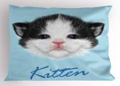 Yavru Kedicik Desenli Yastık Kılıfı Yavru Kedicik Desenli Mavi