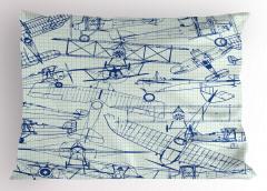Kara Kalem Uçaklar Yastık Kılıfı Mavi Uçaklar
