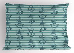 Mavi Denizcilik Desenli Yastık Kılıfı Şeritli