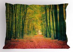 Sarı Orman Yastık Kılıfı Ağaç Sarı Turuncu Doğa