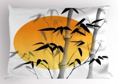 Güneş ve Bambu Desenli Yastık Kılıfı Şık Tasarım
