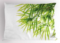 Bambu Yaprağı Desenli Yastık Kılıfı Yeşil Beyaz