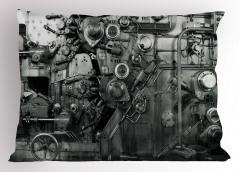 Fabrika Temalı Yastık Kılıfı Antik Siyah Beyaz