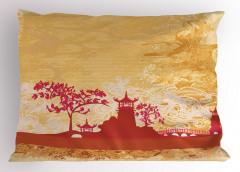 Gün Batımı Temalı Yastık Kılıfı Japon Sarı Şık