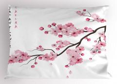 Pembe Kiraz Çiçekleri Yastık Kılıfı Şık