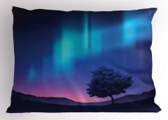 Kuzey Işıkları Temalı Yastık Kılıfı Lacivert Mor