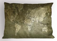 Dünya Haritası Temalı Yastık Kılıfı Nostaljik