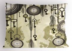 Saat ve Anahtar Temalı Yastık Kılıfı Bej Antika