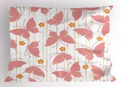 Pembe Kelebek Desenli Yastık Kılıfı Japon Etkili