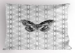 Gri Kelebek Desenli Yastık Kılıfı Çiçek Şık