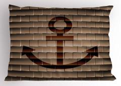 Kahverengi Yastık Kılıfı Çapa Desenli Antika