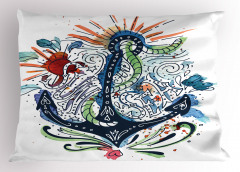 Çapa Desenli Yastık Kılıfı Sulu Boya Etkili Mavi