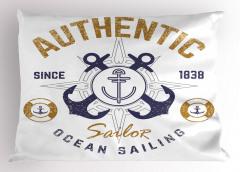 Denizcilik Temalı Yastık Kılıfı Nostaljik Çapa