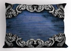 Sanat Etkili Yastık Kılıfı Barok Gotik Lacivert