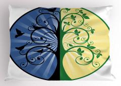 Şık Çiçekler ve Kuşlar Yastık Kılıfı Mavi Sarı Yeşil