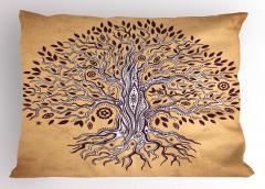 Kahverengi Ağaç Desenli Yastık Kılıfı Şık Turuncu