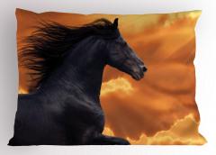 At Desenli Yastık Kılıfı Gün Batımı