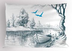 Nehir ve Tekne Desenli Yastık Kılıfı Şık Tasarım