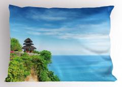 Cennet Tapınağı Temalı Yastık Kılıfı Mavi Deniz