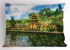 Tapınak Manzaralı Yastık Kılıfı Yeşil Ağaç Balık