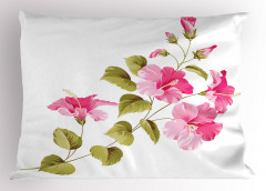 Çiçekler ve Yaprakları Yastık Kılıfı Çeyizlik Beyaz Trend
