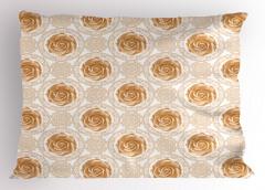 Romantik Gül Desenli Yastık Kılıfı Nostaljik Gül Desenli Beyaz