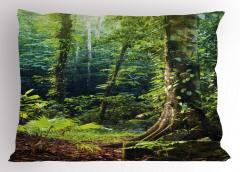 Orman Manzaralı Yastık Kılıfı Doğa Temalı Yeşil