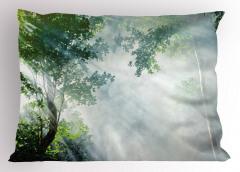 Sisli Orman Temalı Yastık Kılıfı Gri Yeşil Doğa