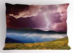 Yağmur Temalı Yastık Kılıfı Dağ Bulut Çiçek Mor Sarı