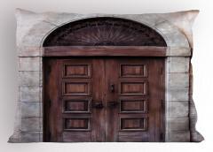 Kahverengi Ahşap Kapı Yastık Kılıfı Nostaljik